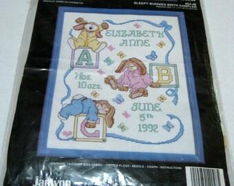 Janlynn Cross Stitch Kit Sleepy Bunnies Birth Sampler 1992