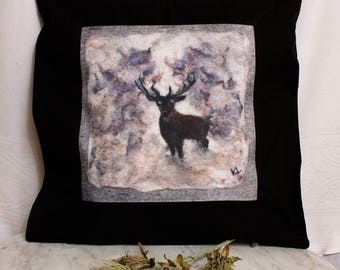 Pillow Cover with Deer from Original Felted Painting