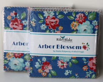 SALE 2 Packs 5 inch charm pack squares fabric ARBOR BLOSSOM by Riley Blake from Nadra Ridgeway