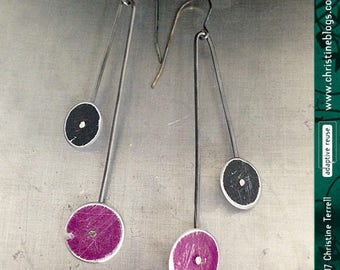 Long Dot Upcycled Tin Earrings Tin Anniversary Birthday Gift Minimal Circles Contemporary Art Jewelry Modern Custom Colors Recycled Elegance