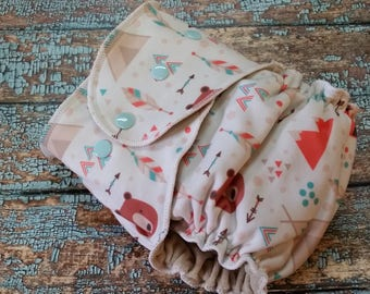 One Size Fitted Cloth Diaper Aztec Bears