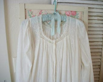 finely worked true antique victorian soft white embroidered nightdress, graceful lace trim, excellent condition, monogram, fine hem stitches