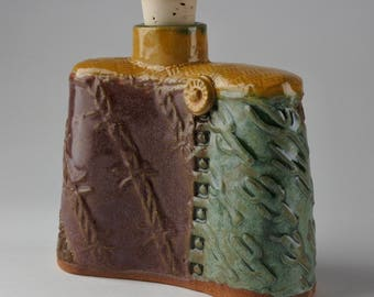 Stoneware Whisky Flask Decanter Barbed Wire and Cactus