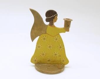 Vintage Wood Angel Candle Holder Christmas Candleholder Germany