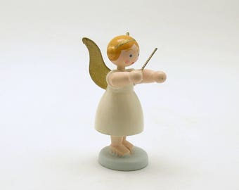 Vintage Christmas Decoration Wood Angel Figurine Conductor Germany