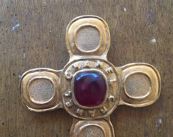 Authentic chanel gripoix cross pin/brooch