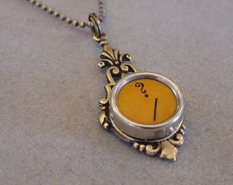 Typewriter Key Pendant Necklace BUTTERSCOTCH QUESTION MARK Antiqued Brass Typewriter Key Necklace Jewelry