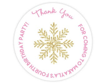 DIY Printable File- Winter Wonderland Gold Glitter Snowflake round sticker label - Avery Label 22807