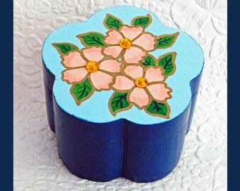 Flower Shaped Trinket Box, Jewelry Box, Hand painted, Jewelry Storage, Jewelry Organizer, Unique Gift, Wood Jewelry Box,