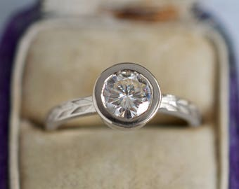 1ct Round Moissanite Engagement Ring | Forever One Moissanite White Gold Engagement Ring | Bezel Set Ring | Conflict Free Engagement Ring