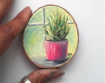 """Mini Oil Painting Succulent in Pink Pot on Wood Slice 2.75"""" READY TO SHIP"""