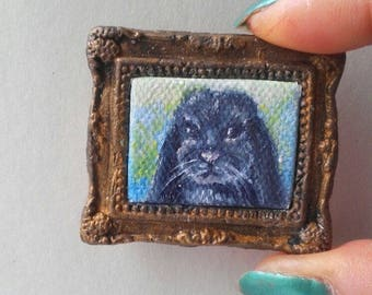 1:6 Scale Black Bunny Rabbit Pet Portrait Oil Painting, Framed almost READY to SHIP