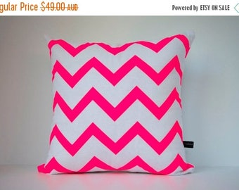 ON SALE Chevron in Neon Pink on White - Hand Printed Cushion Cover - Linen Cotton - 40cm x 40cm