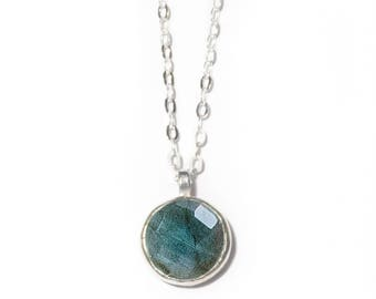 Stone of Magic Necklace | 10mm Labradorite Necklace | Sterling Silver Labradorite Stone Necklace
