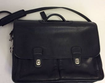 Black Leather Vintage COACH Crossbody Briefcase Laptop Messenger bag