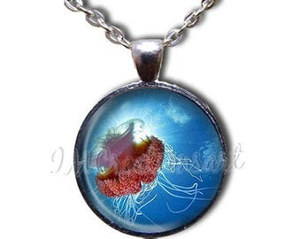 20% OFF - Red Jellyfish in blue waters Glass Dome Pendant or with Chain Link Necklace  NL110