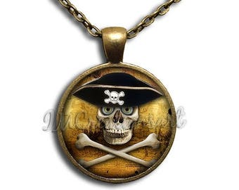 20% OFF - Crossbone Pirate Glass Dome Pendant or with Chain Link Necklace SM166