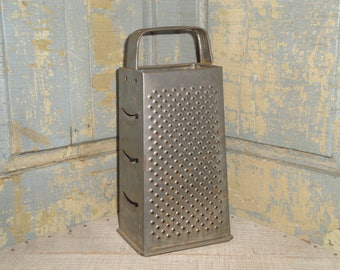 Grater Old Tin | Old Box Grater | Primitive Tin Grater | Strap Handle Grater