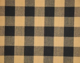 Buffalo Check Fabric | Black And Tan Buffalo Check Homespun Fabric | Farmhouse Check Fabric | Home Decor Fabric | 33 x 44
