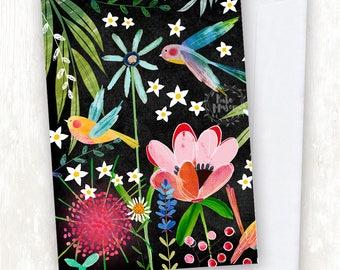 Black Bird Floral GREETING CARD