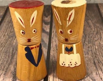 Wooden Bunny Rabbit Salt & Pepper Shakers - JAPAN
