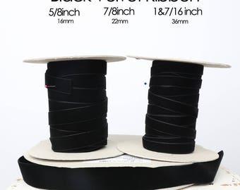 Black Velvet Ribbon -- 3 Widths -- 5/8inch, 7/8inch, 1&7/16inch