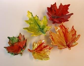 Autumn Leaves ceramic dishes -- set of 5 pottery Thanksgiving, Harvest, hostess gift