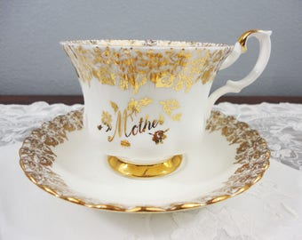 Royal Albert ''Mother' White and Gold Filigree English Bone China Teacup and Saucer - Mother's Day, Birthday, Gift