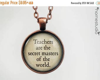 ON SALE - Teacher World Quote jewelry. Necklace, Pendant or Keychain Key Ring. Perfect Gift Present. Glass dome metal charm by HomeStudio