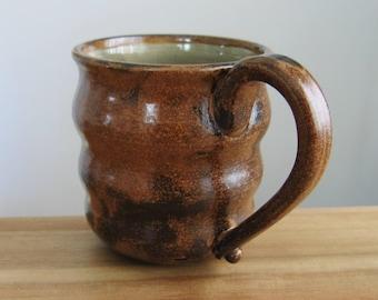 Beehive Mug, Large Pottery Coffee Mug in Topaz and Rustic Cocoa Brown 14 oz. Hand Thrown Stoneware, Ceramic Beer Mug