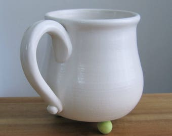 Modern Footed Mug, Large Pottery Coffee Mug in White and Chartreuse, 18 oz. Ceramic Cup, Hand Thrown Stoneware