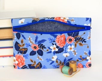 Blue Floral Makeup Bag Pencil Case Handmade with Rifle Paper Co Fabric