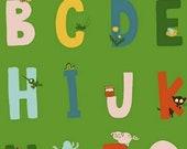 SALE Heather Ross Kinder Alphabet Green