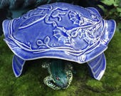 Ceramic Toad House - Frog House - Handmade Toad Abode - Pottery - Bee - Garden Art - Blue - Honey Bee Animal House