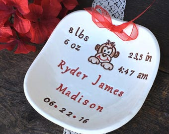 Personalized Monkey Themed Ceramic Baby Birth Announcement - New Baby Gift Personalized Birth Plate, Newborn Keepsake Nursery Decor