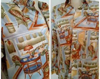 1970s Vintage Mens Polyester Disco Shirt Wacky Furniture Theme Novelty Print