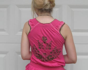 embroidered pink top . free people . free people top . pink and brown top