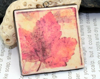 Polymer clay leaf pendant, image transfer pendant, jewelry design, jewelry component, hippie boho chic