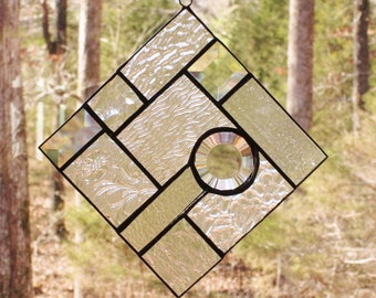 Stained Glass Suncatcher - Abstract - Assorted Clear Textured Glass with Bevels