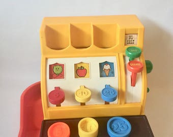 Vintage Fisher Price Cash Register with coins, Vintage Toy