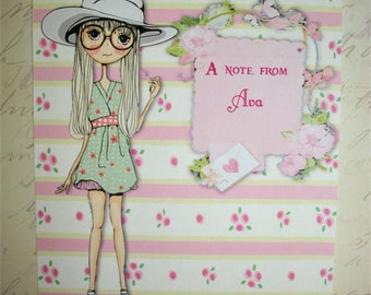 TEEN or TWEEN Gift - Note Cards  - Girly - Elegant - Shabby Chic =  Personalized - 8 notecards and envelopes - Click on All Photos -TNC 8886