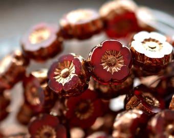 NEW! Red Rose - Premium Czech Glass Beads, Opalite Red, Metallic Bronze, Hawaiian Flowers 9mm - Pc 10