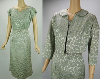 Vintage 1950s Dress and Jacket Pale Celery Green Brocade by Gloria Swanson VOLUPE B44 W34
