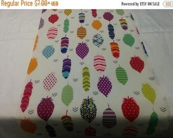 ON SALE FEATHERS Table Linens -Table Runner- or Napkins -or Placemats -Centerpiece Rounds, Squares, Colorful Feathers on white
