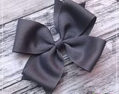 Classic Gray Boutique Hairbow 4 Inch Posh Bow