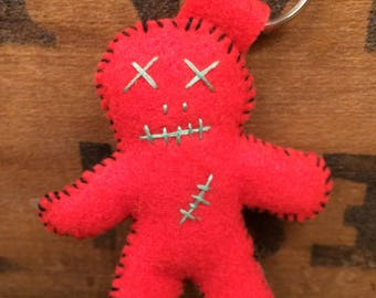 Red Voodoo Hoodoo Doll Keychain Ornament