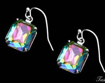 Rainbow Swarovski Crystal Rhinestone Earrings, Vintage Jewelry
