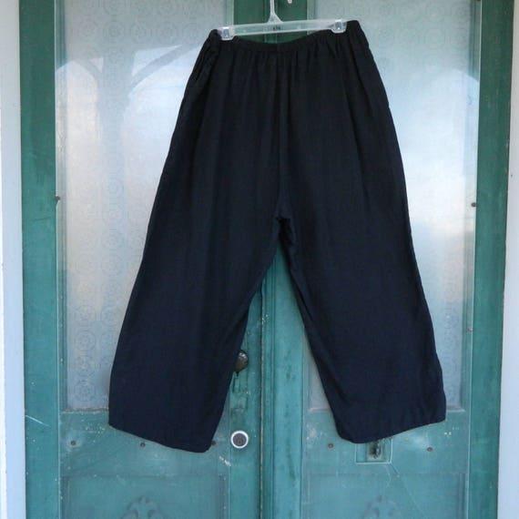 FLAX Engelhart Flood Pants -L- Black Linen