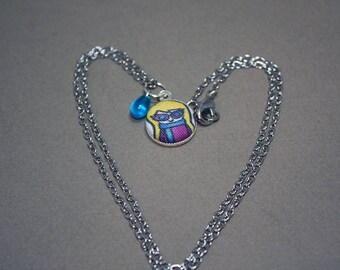Luna Lovegood Pendant Necklace - Harry Potter Doodle - Fabric Covered Button