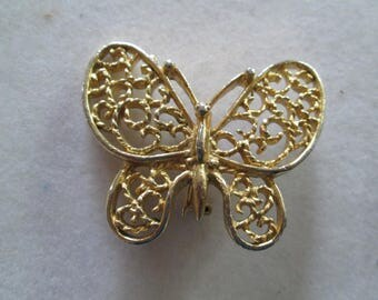 """1980's GERRYS gold filligree rope Butterfly brooch Pin 1 7/8"""" x 1 1/2"""""""